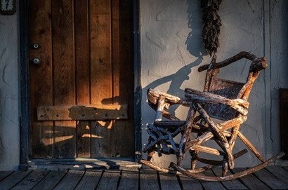 old rocker on porch