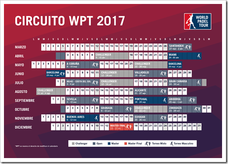 CALENDARIO WORLD PADEL TOUR 2017 OFICIAL