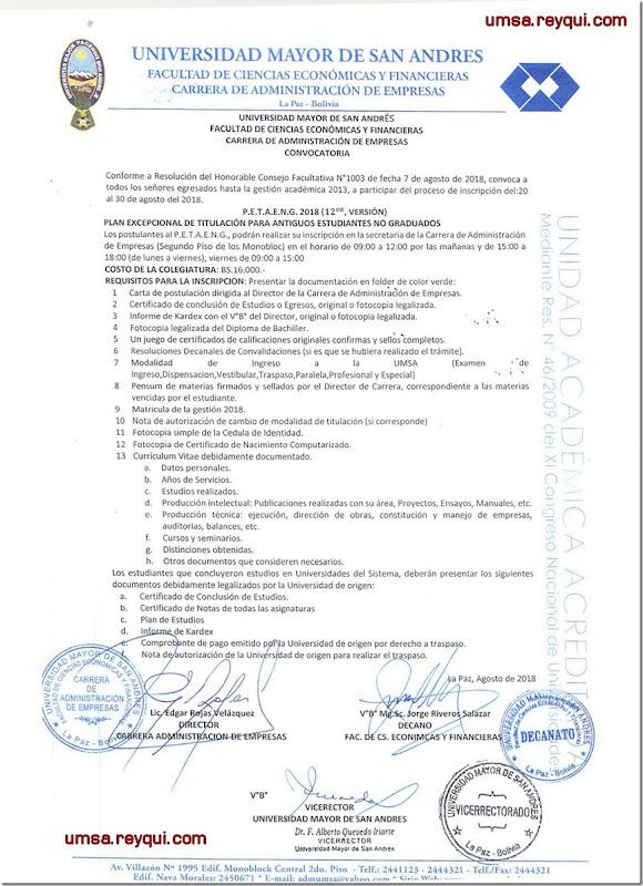 Convocatorias UMSA 2018