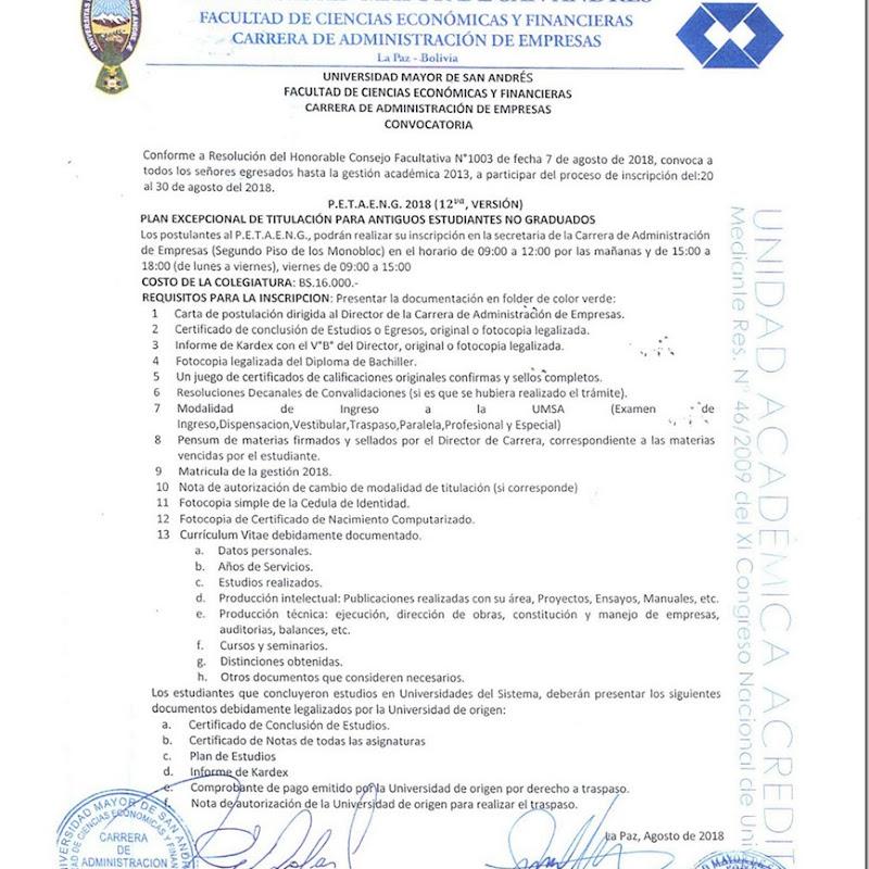 Administración de Empresas UMSA 2018: Plan excepcional de titulación para antiguos estudiantes no graduados PETAENG