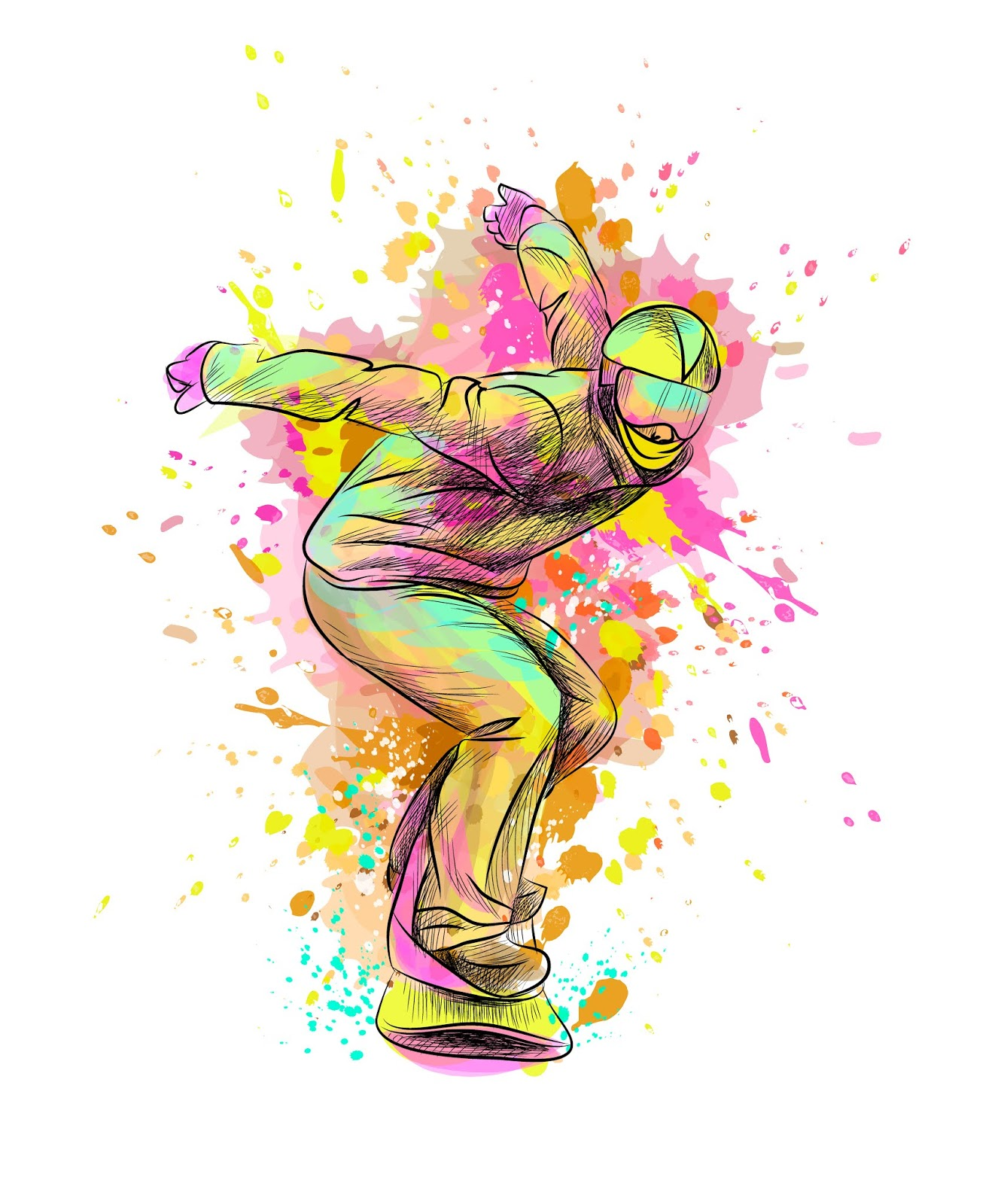 Abstract Snowboarder From Splash Watercolor Hand Drawn Sketch Vector Illustration Paints Free Download Vector CDR, AI, EPS and PNG Formats