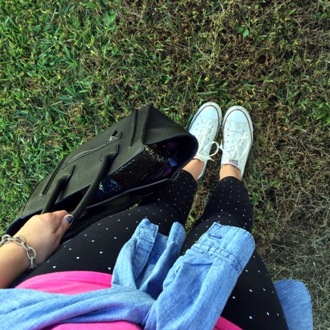 polka dot pants, converse tennis shoes, look for less