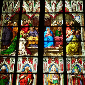 Stained glass windows in Cologne Cathedral by Eugen Opritescu - Buildings & Architecture Statues & Monuments ( tourist attraction, skyline, old, gothic, st. martin church, dom, domkirche, cloudless, travel, architecture, people, historic, heritage, city, religion, travel destination, sky, germany, rhine river, koeln, 2013, church, german, tourism, basilica, hohenzollem, temple, landmark, rhine, european, scene, cathedral, town, day, view, large, waterway, cologne, great st. martin church, famous, christian, famous place, europe, christianity, saint martin church, koln dom, koln, bavaria, sunny, aerial view, cologne cathedral, tall, water, building, beautiful, scenic, canal, history, tower, catholicism, catholic, blue, outdoor, architectural, scenery, square, historical, high, medieval, bavarian, river,  )