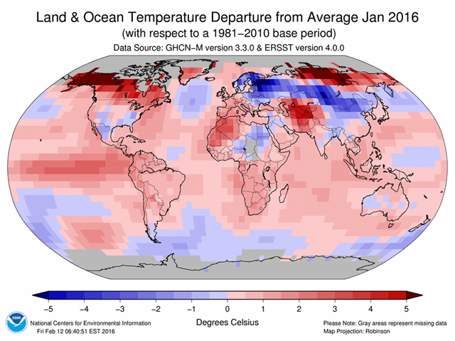 Land and ocean temperature departures from average, January 2016. Graphic: NOAA