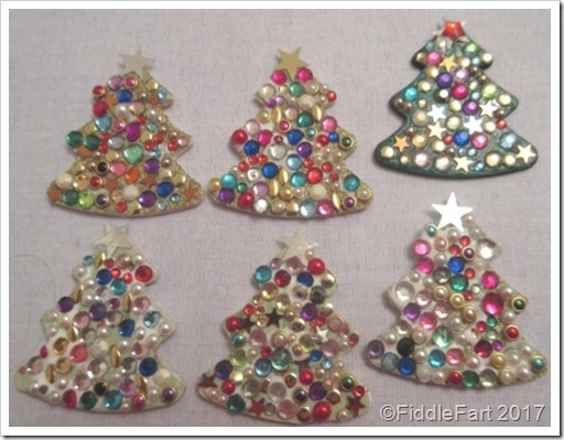 Jewelled Christmas Tree Tags.