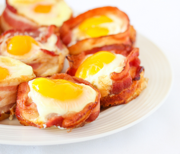 close-up photo of Bacon Egg Pancake Cups on a white plate
