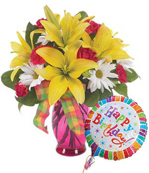 Birthday Bright Mixed Bright Orange Lily Bouquet - flower gifts