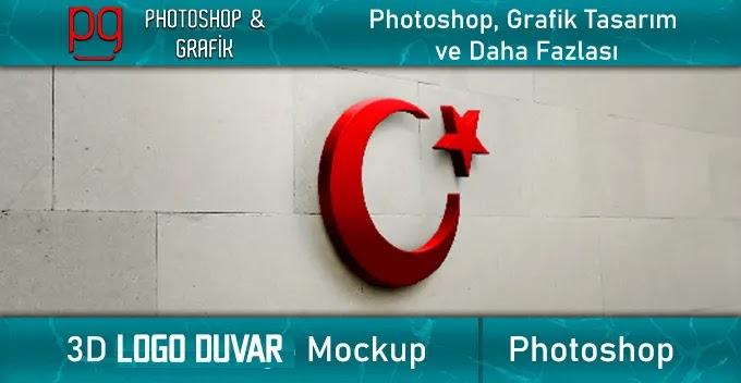 3D Logo Duvar Mockup   3D Wall Mockup