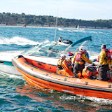 The ILB crew assist a motorboat that had suffered engine failure on Poole Bay. 31 August 2013 Photo: RNLI Poole/Dave Riley