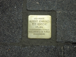 Aleidus Johannes Ter Morsche - Bruggertstraat 321 (voorheen Bruggertsteeg 201) - Stolperstein in Enschede
