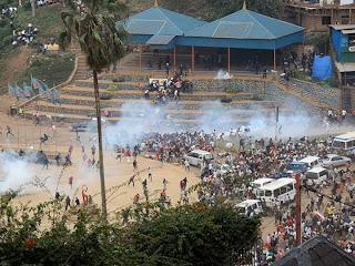 La police disperse les manifestants de l'UNC jeudi 20 février à la place de l'indépendance à Bukavu (Sud-Kivu)/ Ph. UNC