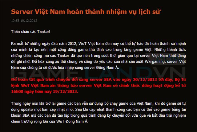 World of Tanks Việt Nam ngừng hoạt động từ 19/12 1