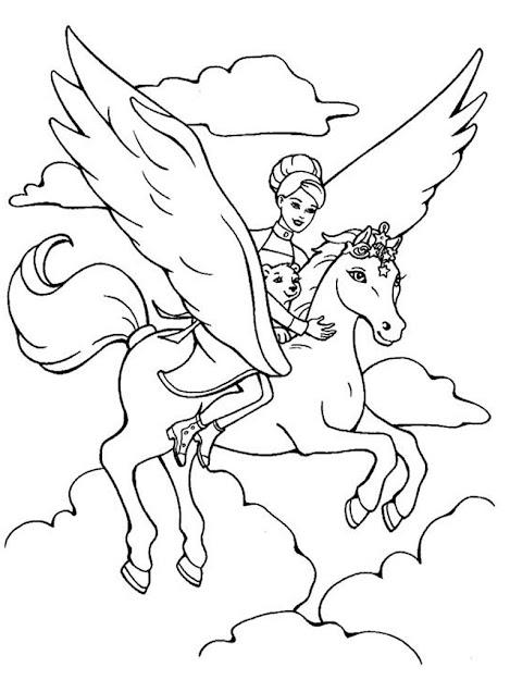 Barbie Pegasus Coloring Pages