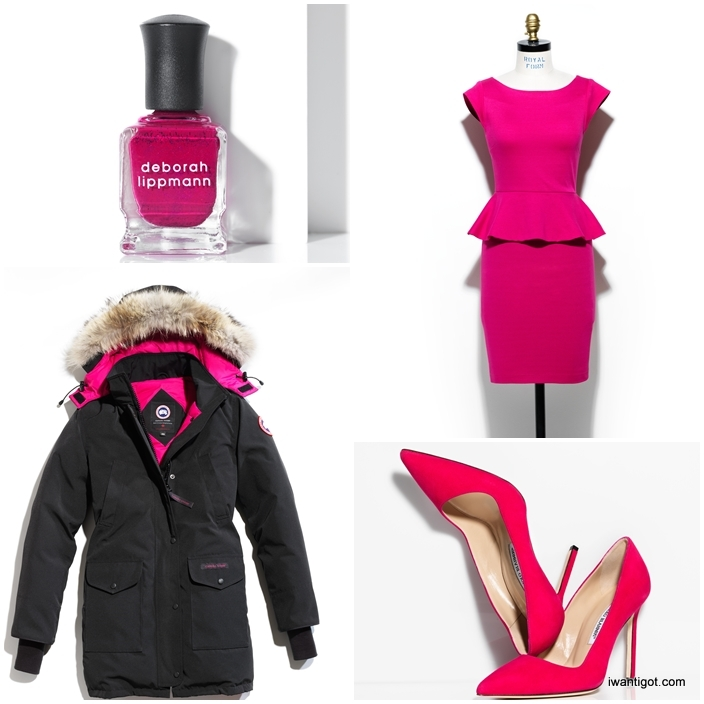 Deborah Lippmann - Raise Your Glass, Alice & Olivia - Victoria Peplum Dress, Canada Goose Trilium Parka, Manolo Blahnik BB Pump