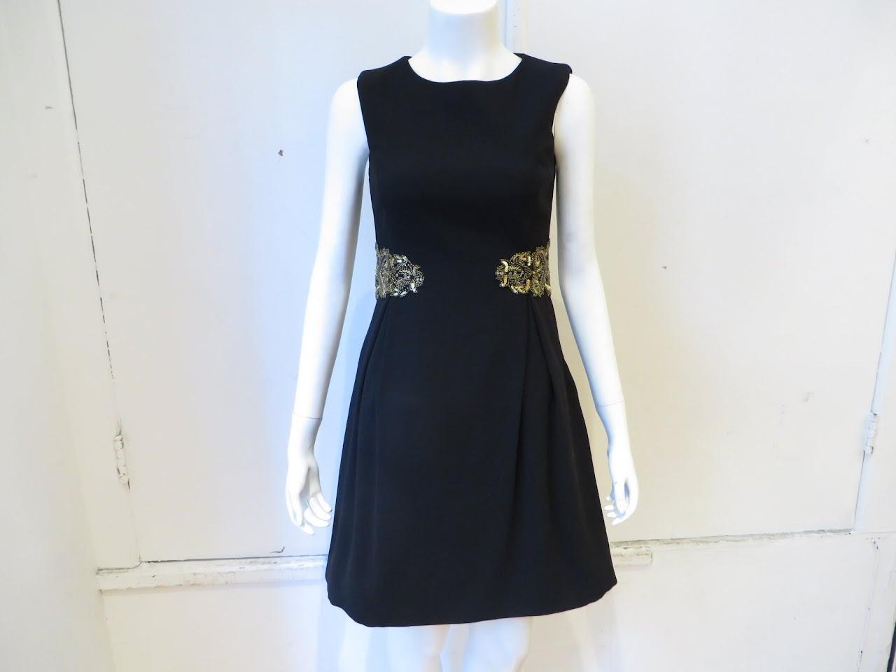 ML Monique Lhuillier Blacked Beaded Cocktail Dress