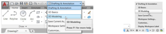 workspace menu in AutoCAD, switching the workspace