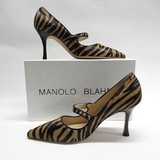 Manolo Blahnik Hide Mary Jane Pumps