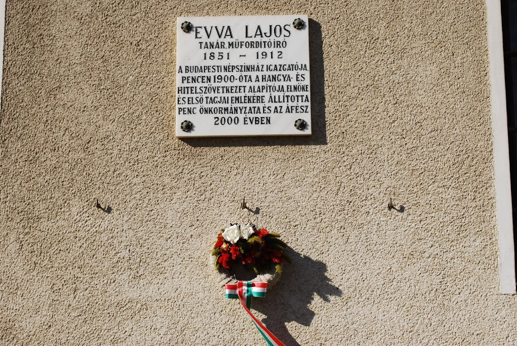 Evva Lajos emlékünnepség Pencen - Emléktábla