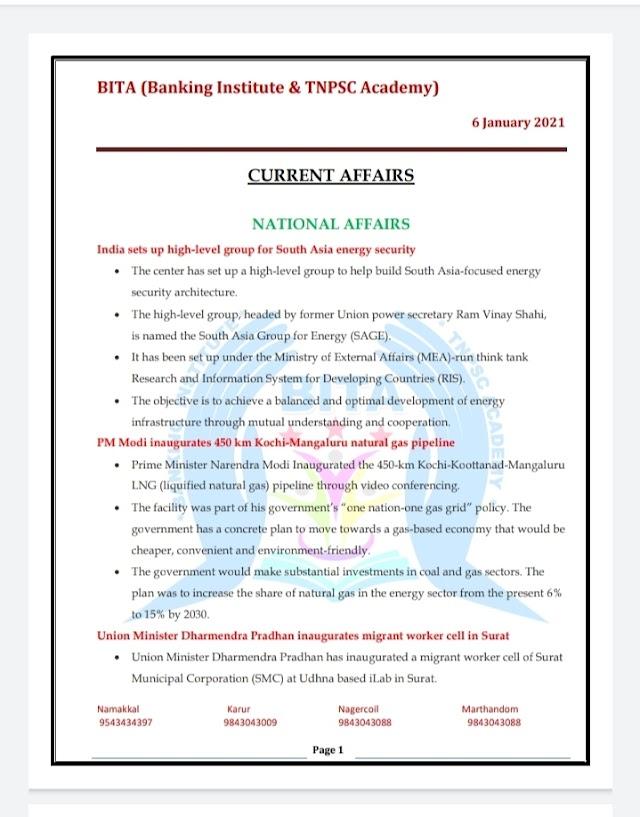 Banking Exam - Today Current Affairs  BITA Academy  ( 06 -  January  2021 )