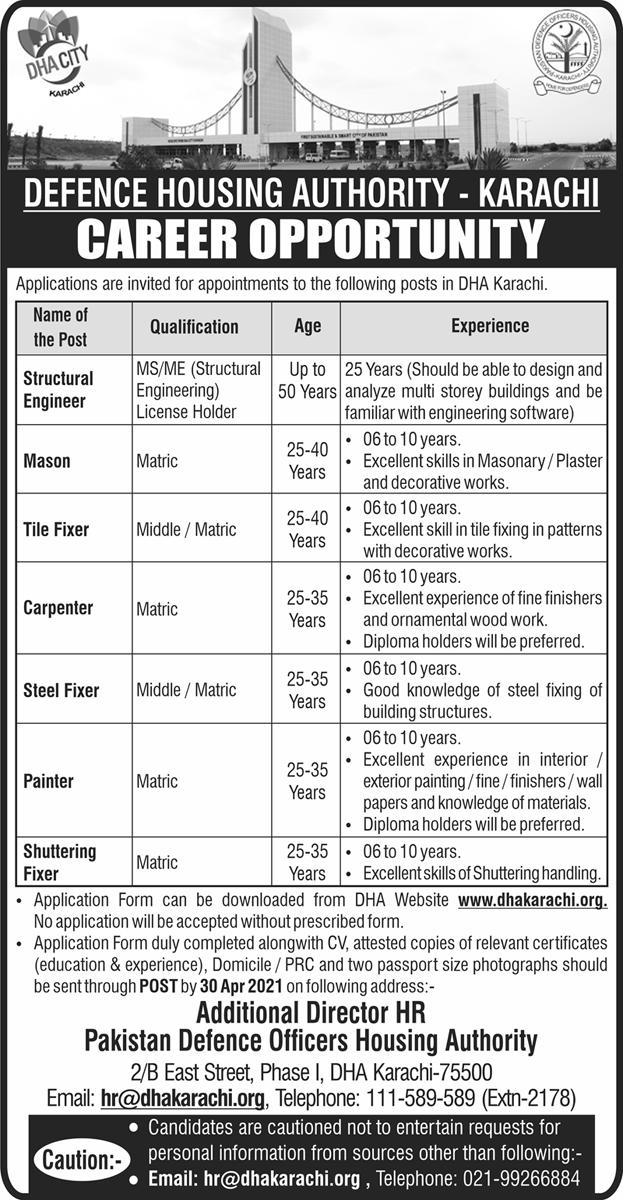 DHA Karachi Jobs 2021