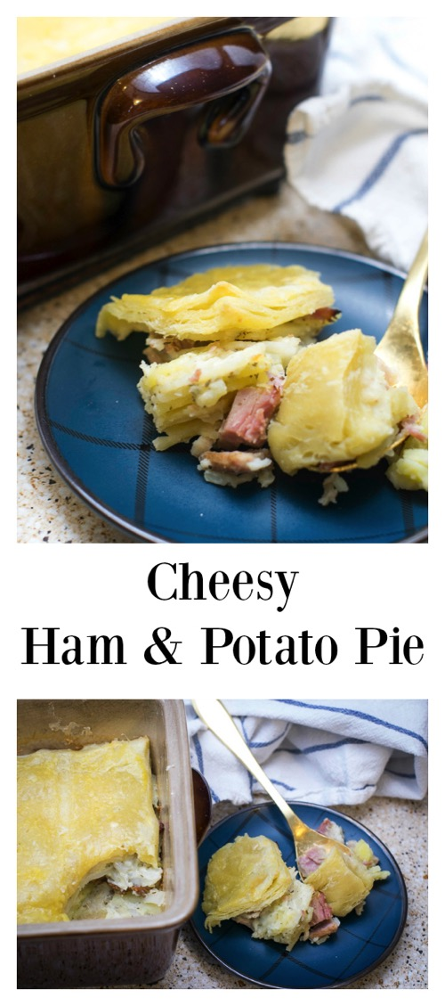 Cheesy Ham and Potato pie. What a fabulous way to use leftover ham! This cheesy potato and ham pie will warm your tummy on cold winter nights. Easy to make and feed to a crowd! #ForTheLoveOfHam #CollectiveBias #ad