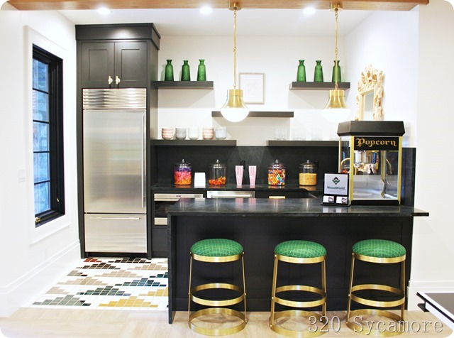 modern green basement kitchen