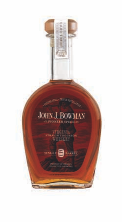 A bottle of JOhn J. Bowman single barrel bourbon