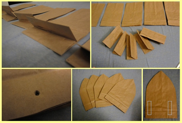 The first step is to fold the five bag     s bottom in half  Once that is done  cut off all of the bottoms  Cut one bag into a petal shape  then use this