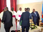Le Président Joseph Kabila reçoit des représentants de l'église catholique  le 1/06/2015 dans son bureau officiel au palais de la nation à Kinshasa lors des consultations. Radio Okapi/Ph. John Bompengo