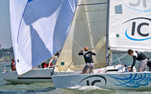 J/80 one-design sailboats- sailing off Pornic, France