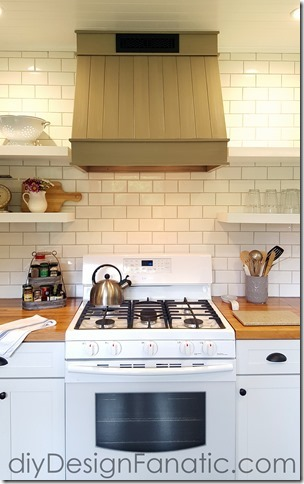 mountain cottage kitchen reno, farmhouse style, cottage style, open shelves, custom range hood, diy Design Fanatic