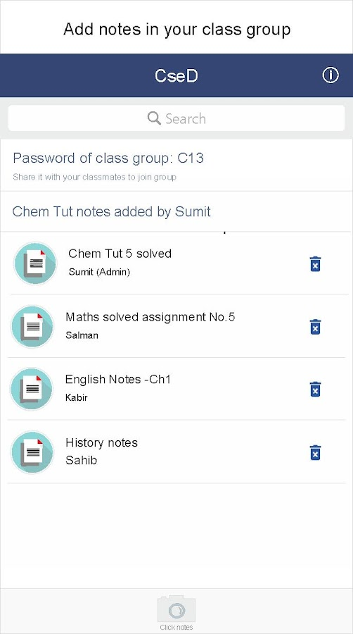Classmate : Share notes in your class group- screenshot
