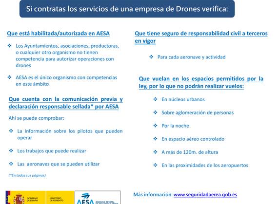 Recomendaciones antes de contratar el servicio de una empresa de drones de la AESA