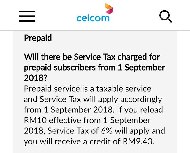 Buat pengguna prepaid. Topup RM10 dapat RM9.43