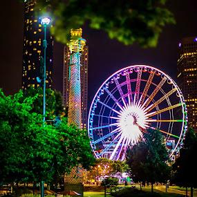 Ferris Wheel in ATL by Ronald Rivas - City,  Street & Park  Night ( park, atlanta, downtown, ferris wheel )