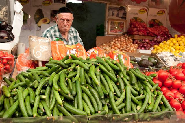 cucumbers in Mahane Yehuda