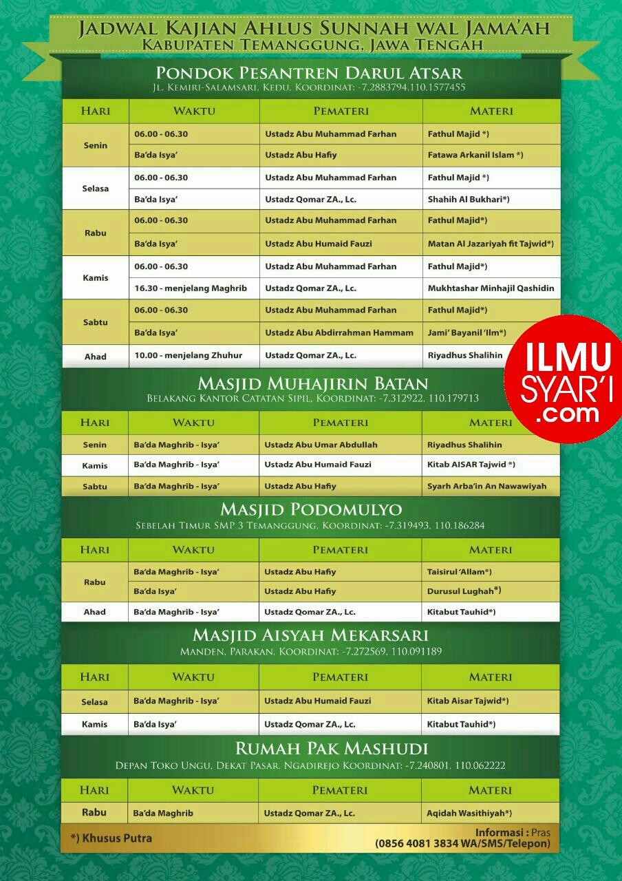 Informasi Jadwal Kajian Sunnah di Temanggung
