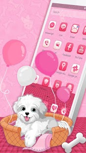 Pink  white Puppy Theme - náhled
