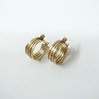14K Gold Tricolor Hoop Earrings