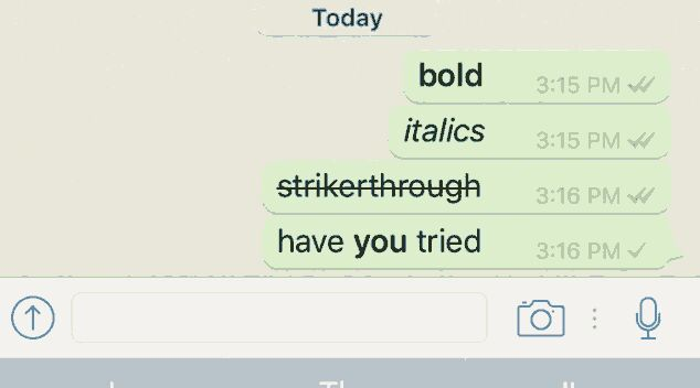 Now Whatsapp Comes with New Text Formatting Bold, Italic, Strike