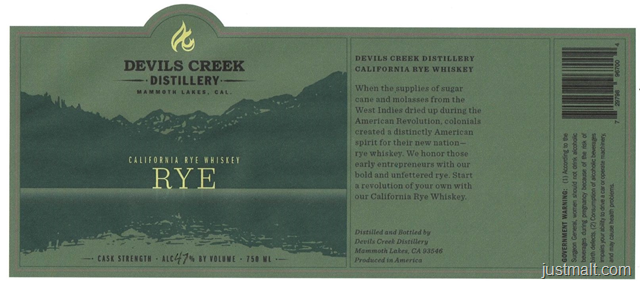 Devils Creek Distillery California Rye Whiskey