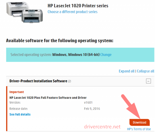 download HP LaserJet 1020 driver