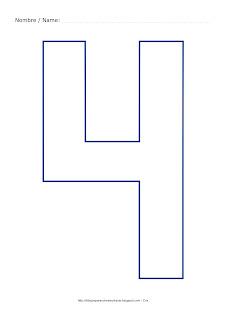 Lámina para colorear y pintar el número cuatro en color azul