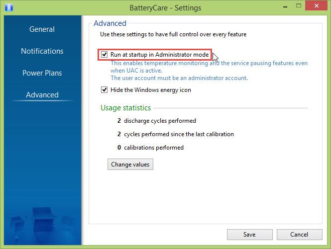 Opsi Run in Administrator Mode pada BatteryCare