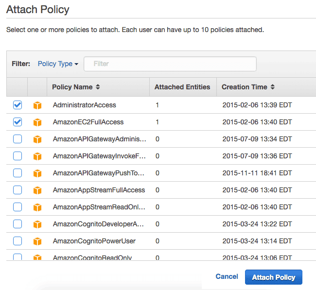 Create Amazon IAM Attach Policy