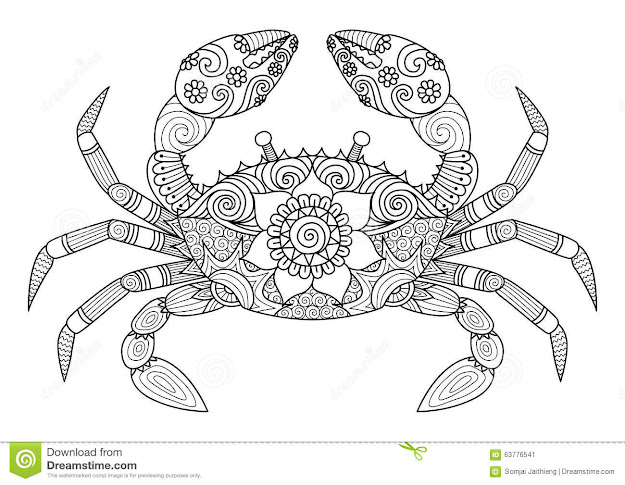 Hand Drawn Crab Zentangle Style For Coloring Book For Adult Stock