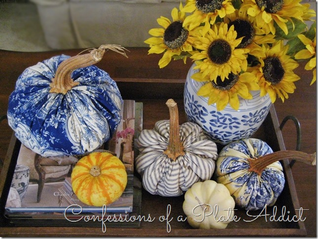 CONFESSIONS OF A PLATE ADDICT Ticking and Toile Pumpkins Vignette