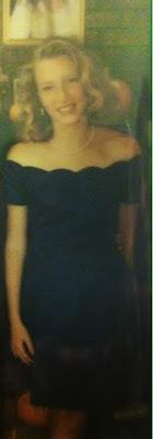 short blue semi-formal dress from 1990s