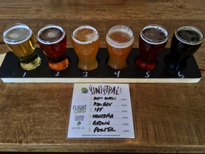 Six beer samplers with numbered key card