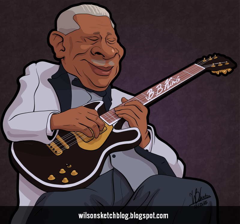 Cartoon caricature of B.B. King.